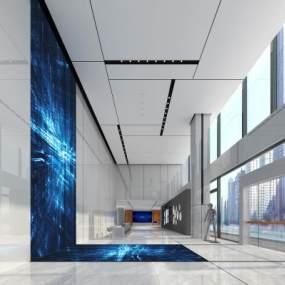 现代办公大厅 3D模型【ID:942195234】