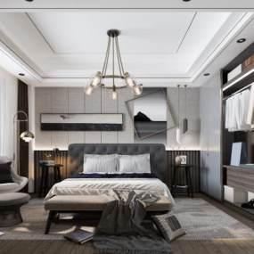 现代轻奢卧室3D模型【ID:548230260】
