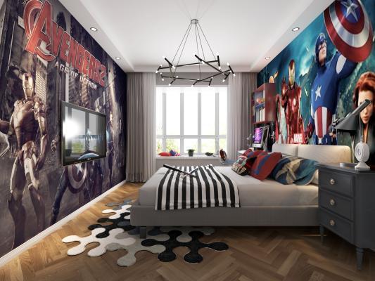现代复仇者联盟主题卧室3D模型【ID:542310217】