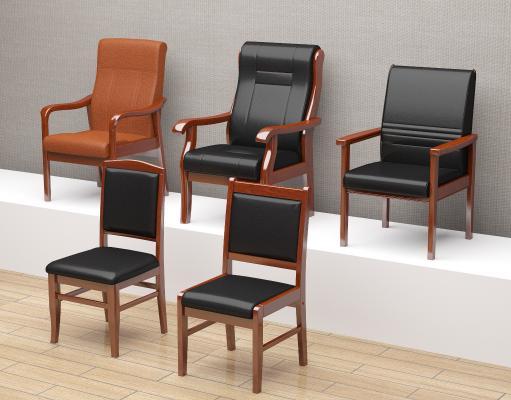 中式办公椅木质实木扶手椅子