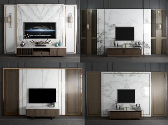 新中式大理石電視背景墻3D模型【ID:945002915】
