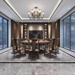 新中式風格餐廳3D模型【ID:543049167】