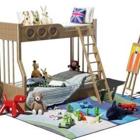 现代儿童床3D模型【ID:832363829】