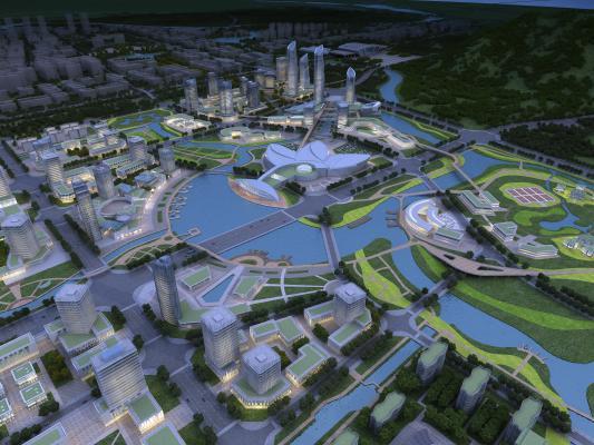 現代規劃鳥瞰建筑3D模型【ID:245993063】