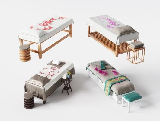 现代SPA按摩床美容床组合3D模型【ID:932128025】