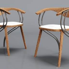 現代金屬實木絨布單椅3D模型【ID:734758018】