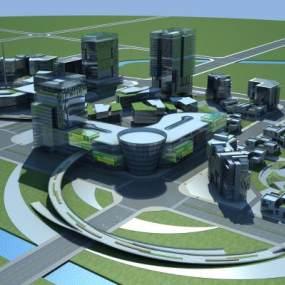 现代商业中心鸟瞰图3D模型【ID:232497020】