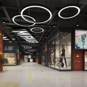 現代商業步行街3D模型【ID:143631264】