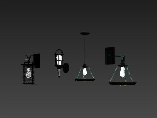 美式壁燈SU模型【ID:344445911】