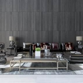 现代客厅沙发茶几组合3D模型【ID:530431074】