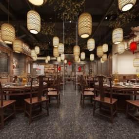 中式中餐厅过道3D模型【ID:653893227】