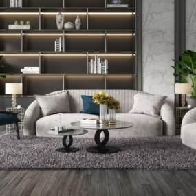 现代沙发茶几组合3D模型【ID:653895754】