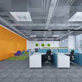 现代简约办公室3D模型【ID:948635032】