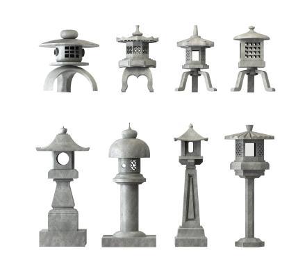 新中式景�^落�@�|西地石��3D模型【ID:842154295】