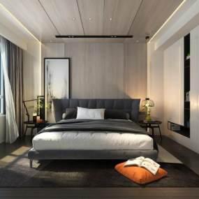 现代极简主人房卧室3D模型【ID:544511223】
