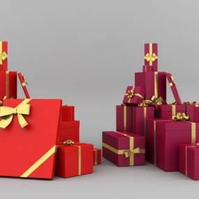 现代红色主题礼盒3D模型【ID:230952568】