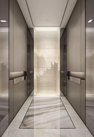 新中式电梯厅轿厢3D模型【ID:741102636】
