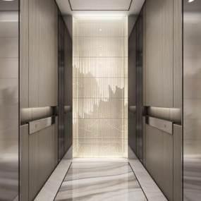 新中式电梯厅轿厢 3D模型【ID:741102636】