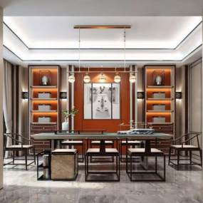 新中式茶室3D模型【ID:650780802】
