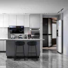 現代風格開放式廚房3D模型【ID:548221344】