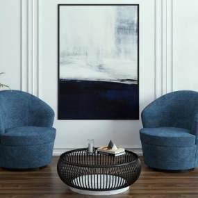 现代椅子茶几组合3D模型【ID:732773083】