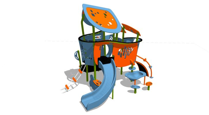 現代滑梯SU模型【ID:744572654】