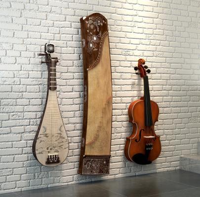 現代音樂器材樂器小提琴古箏琵琶3D模型【ID:330594979】
