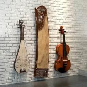 现代音乐器材乐器小提琴古筝琵琶3D模型【ID:330594979】