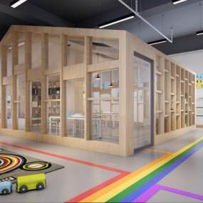 现代幼儿园美术室大厅教室走道3D模型【ID:931798661】