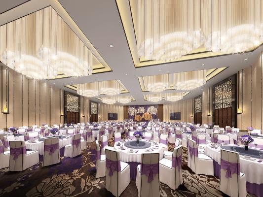 新中式酒店宴會廳3D模型【ID:731810277】