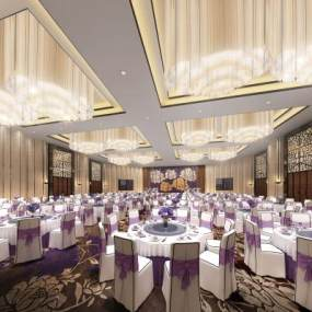 新中式酒店宴会厅3D模型【ID:731810277】