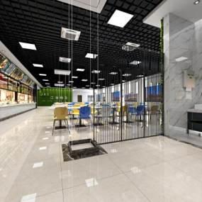 现代食堂3D模型【ID:646534683】