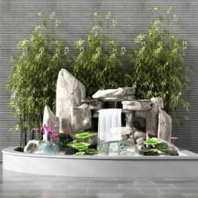 现代景观小品假山水池莲花河花假山流水墙竹子3D模型【ID:130618407】