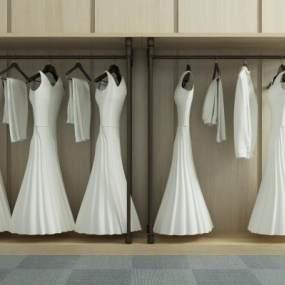 现代衣服白色婚纱3D模型【ID:330879725】