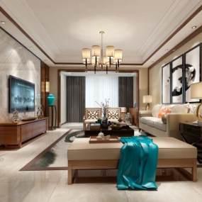 新中式風格家裝客廳3D模型【ID:550994006】