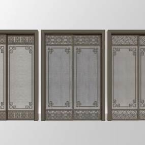 新中式夹丝玻璃推拉门3D模型【ID:334465100】