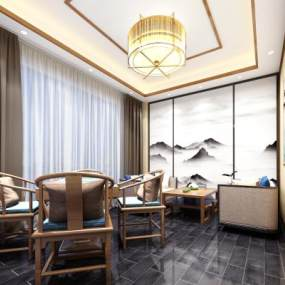 新中式茶室 3D模型【ID:636204621】