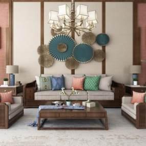 新中式沙发 3D模型【ID:642356791】