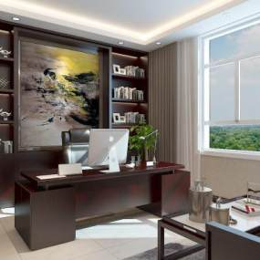 新中式办公室3D模型【ID:952137099】