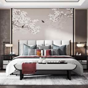 新中式臥室3D模型【ID:547809237】