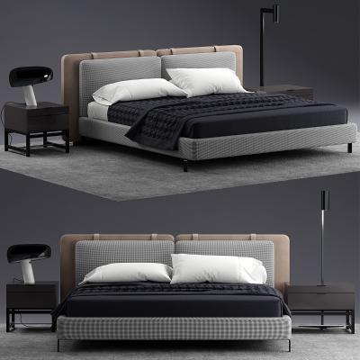 意大利Minotti米洛提現代布藝雙人床床頭柜組合國外3D模型【ID:832302717】