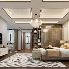 新中式卧室3D模型【ID:550936299】
