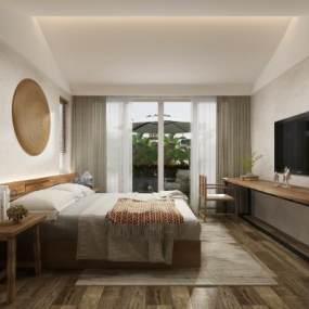 現代名宿酒店客房3D模型【ID:735275345】