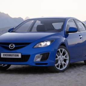 现代蓝色汽车3D模型【ID:432808764】