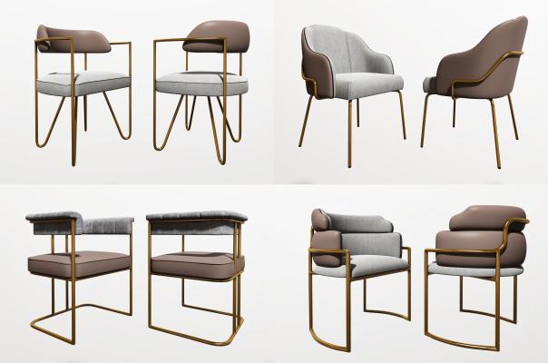 現代椅子組合3D模型【ID:746340137】