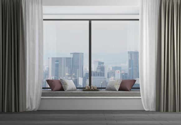 現代飄窗休息區窗簾組合3D模型【ID:341651246】