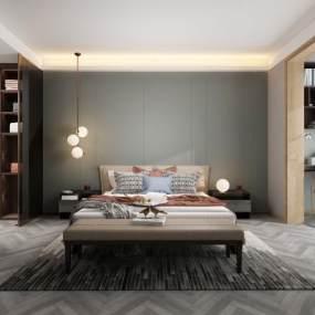 现代卧室3D模型【ID:551007299】