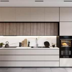 現代開放式廚房吧臺3D模型【ID:548027339】
