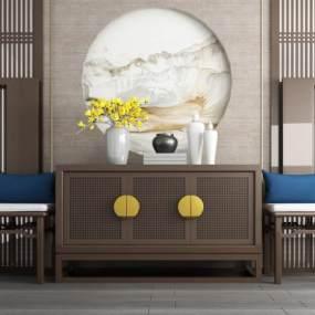 新中式实木端景台玄关柜 3D模型【ID:140928098】