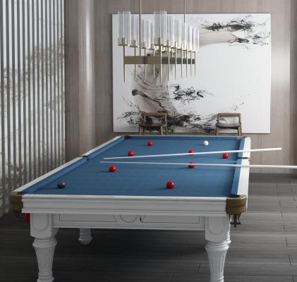 新中式台球桌台球室3D模型【ID:940948568】